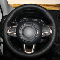 Black Leather Car Steering Wheel Cover for Jeep Compass 2017 Renegade 2016 2017 auto Steering Covers