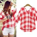 Red Plaid Women Shirts Elegant Big Square Patchwork Deep V Neck Long Women Shirts For Summer Hot day Plus Size
