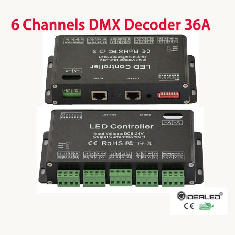 6 Channel DMX512 RGB Controller high power DMX decoder input DC5V-24V 36A RGB strip dimmer drive wholesale 1pcs dc5v 36v 36 channel 12groups rgb easy 36ch dmx512 xrl 3p led controller decoder dimmer drive for led strip light