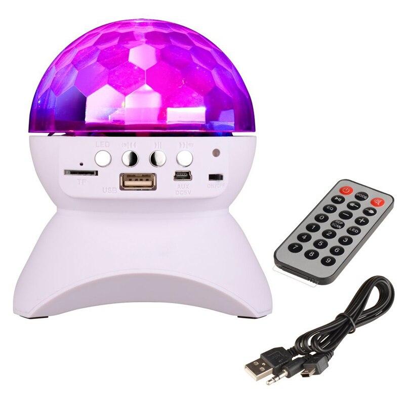 Bluetooth alto-falante luz de palco controlador rgb led cristal bola mágica efeito luz dj clube discoteca festa iluminação usb/tf/fm rádio