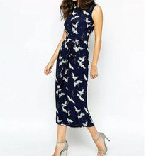 8b66da84523 women cute crane print jumpsuit sashes pockets sleeveless pleated rompers  ladies vintage casual jumpsuits