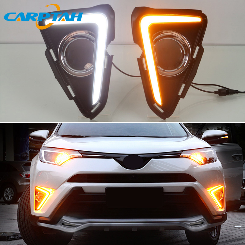 LED Daytime Running Light For Toyota RAV4 2016 2017 2018 Waterproof 12V Yellow Turn Signal Indicator Light Bumper Lamp LED DRL