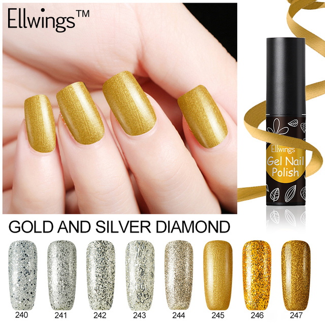 Ellwings shinee gold and silver gel nail polish nail art ellwings shinee gold and silver gel nail polish nail art decoration glitter nail glitter diamond hybrid prinsesfo Images