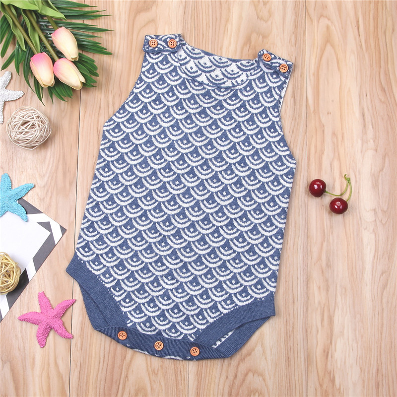 390f378ab7d Baby Girls Knitted Romper 2018 Summer Newborn Baby Girls Sleeveless Romper  Printed Jumpsuit 0 18Month Kids Girls Clothes Outfits-in Rompers from  Mother ...