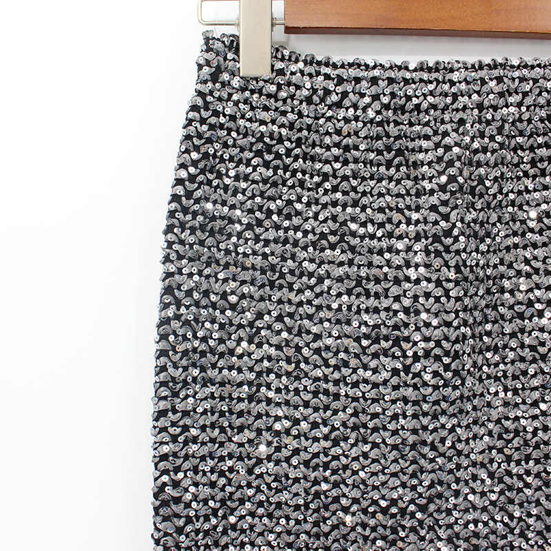 2018 Midi moulante taille haute élasticité jupe crayon femmes jupes mi-mollet or paillettes portefeuille Sexy fête jupe longue