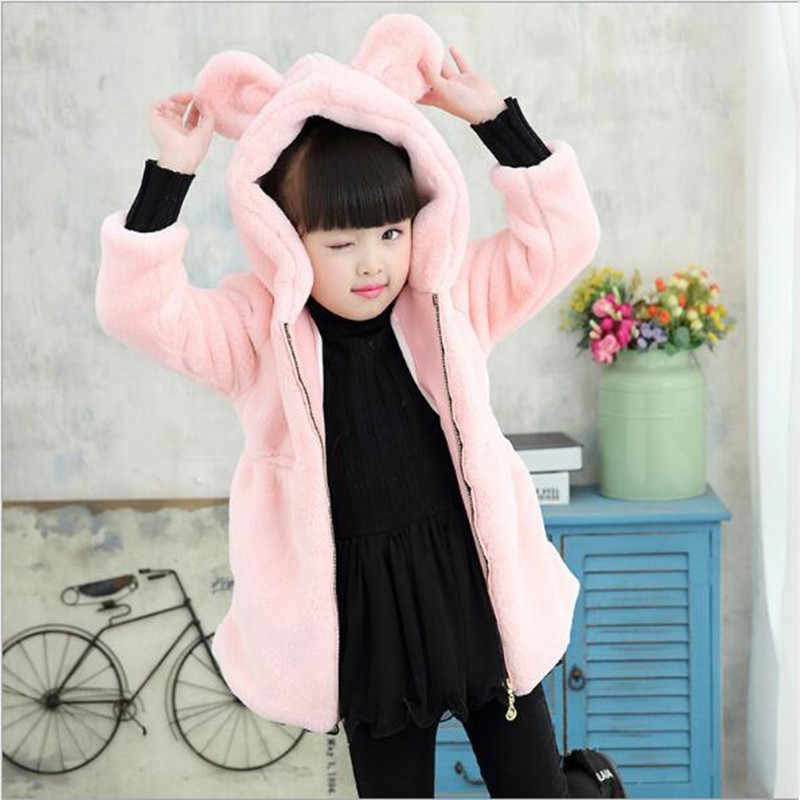 Faux Fur 2019  girls fur coa Animal Ear Hooded Cotton Children Zipper Shirt Autumn Winter Jacket Baby Long Sleeve Overcoat QV133