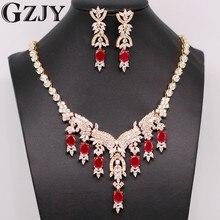 Gzjy فاخرة nacklace مجوهرات الذهب اللون الطبيعي الأحمر aaa زركون أقراط مجموعة للمرأة مجوهرات الزفاف 2 ألوان