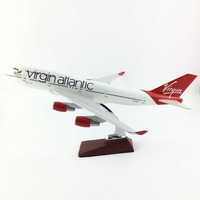 AIRLINES 45 47CM BOEING 747 VIRGIN ALLANLIC AIRCRAFT MODEL PLANE AIRCRAFT MODEL TOY AIRPLANE BIRTHDAY GIFT