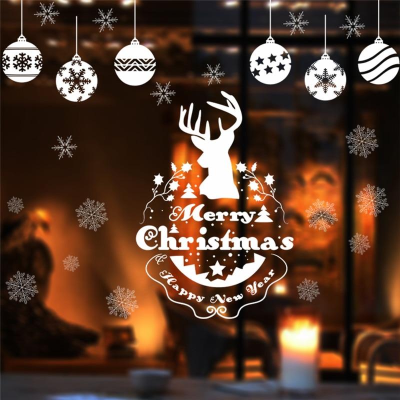 Adesivi Buon Natale.Us 2 33 6 Di Sconto Decorazione Di Buon Natale Capodanno Deer Fiocco Di Neve Adesivi Per Pareti Adesivi Vetrina Vetrina Vetrina Di Un Negozio Di