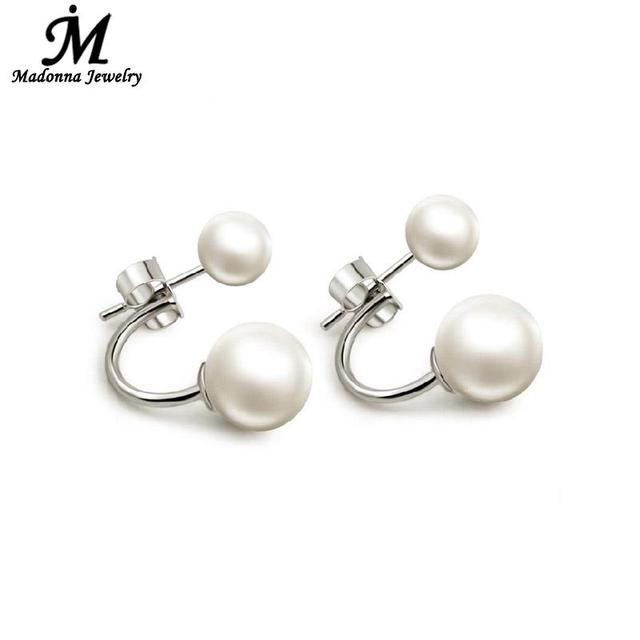 925 Sterling Silver Double Sided Shell Pearl Studs