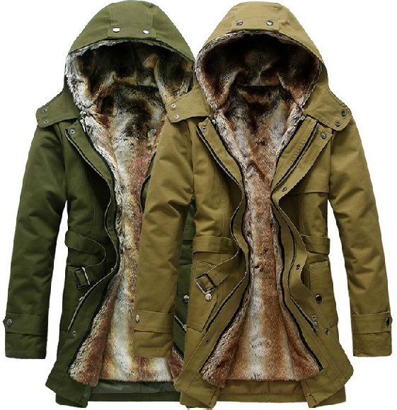 HOT Long Thick Men Outdoors Jacket Parka coats Fur Lining Jacket ...