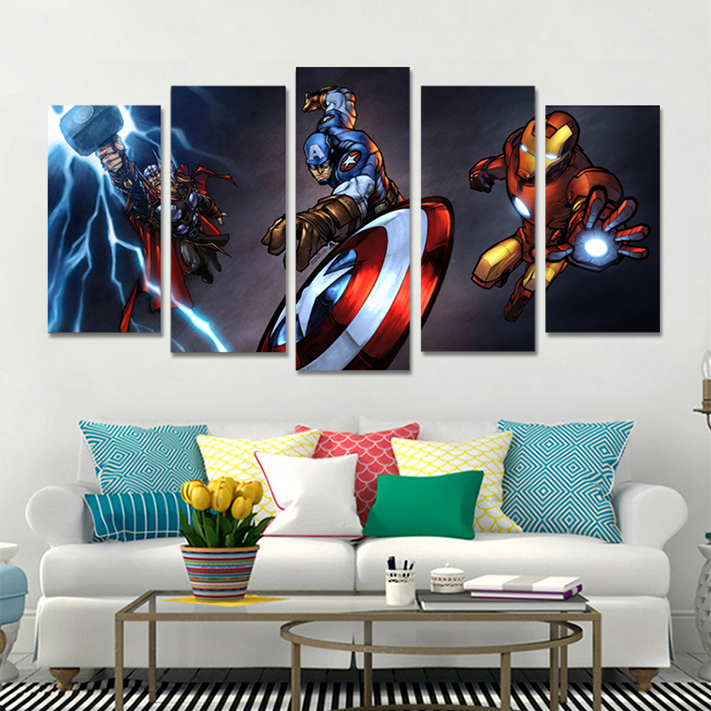 Unframed HD Canvas Prints Captain America Anime Giclee Modular Picture Prints Wall Pictures For Living Room Wall Art Decoration