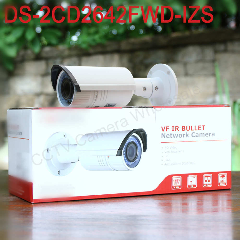 In stock International English version DS-2CD2642FWD-IZS 4MP Bullet Network ip cctv Camera Vari-focal motorized lens POE H.264+