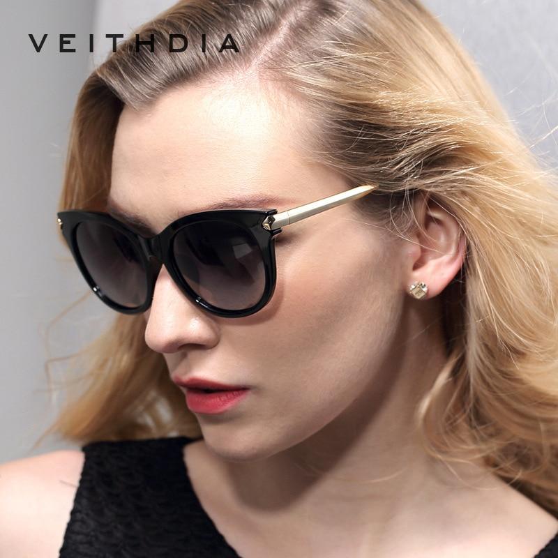 VEITHDIA Retro TR90 Vintage Large Sun glasses Polarized Cat