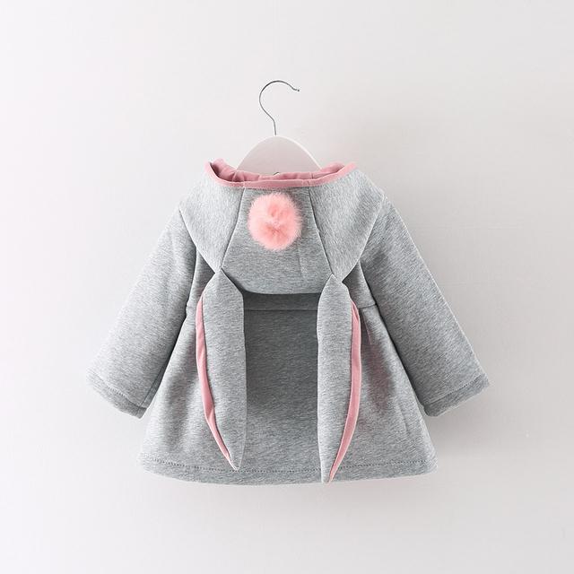 New Outono Inverno Meninas Do Bebê Lactentes Crianças Bola Coelho Bonito Com Capuz Princesa Outwears Jaqueta Roupas Casaco Casacos de Presentes de Natal