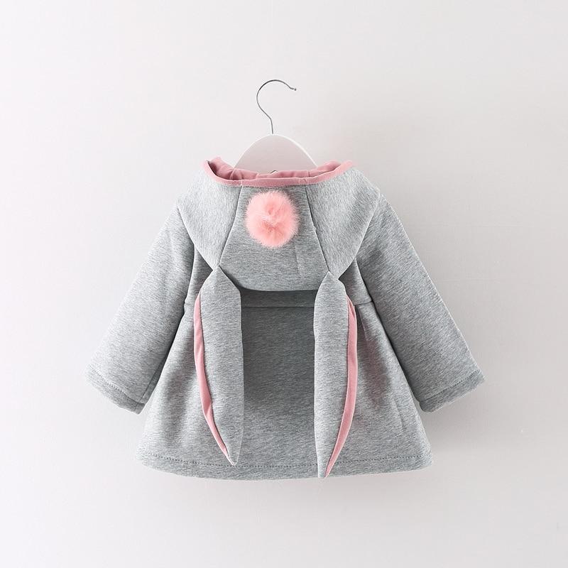 new Autumn Winter Baby Girls Infants Kids Ball Cute Rabbit Hooded Princess Jacket Outwears Coats Christmas