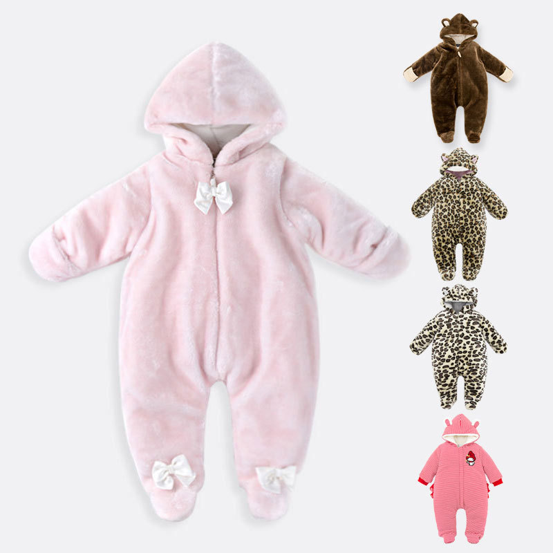 New winter infant long sleeve hooded rompers body boys girls coral velvet climbing newborn warm cartoon clothes overall 17S907 6m 3years baby winter overall toddler warm velvet bear hooded rompers infant long pants kids girls boys jumpsuit pink blue