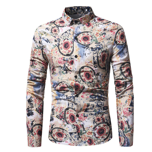39189f93f87 Men Shirt Retro Style Floral Wedding Party Clothes Gentleman Blouse Spring  Long Sleeve Tops Turn-down Collar Male Fashion Blusa