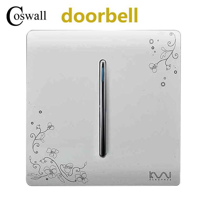 цена на COSWALL 1 Gang Doorbell Push Button Wall Switch Reset Momentary Contact Switch Ivory White Brief Art Weave AC 110~250V
