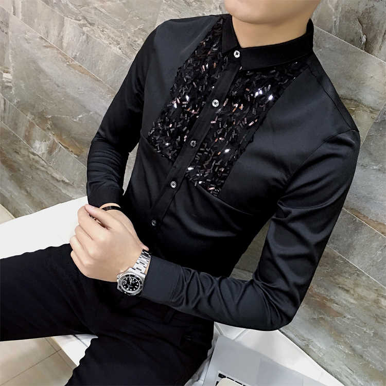 Drop Shipping Mens Sequins Black White Stage Show Shirt Boomer's Personality Host Wedding Long Sleeve Casual Shirts 12 colors