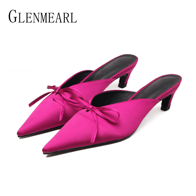Brand Women Slippers Mules Shoes Thin Heels Butterfly-knot Summer Outdoor Slippers Woman Rabbit Fur Pointed Toe Party Shoes DE stylesowner rabbit fur plush high heel slippers transparent clear slippers clip toe thin high heels shoes ladies shoes for women
