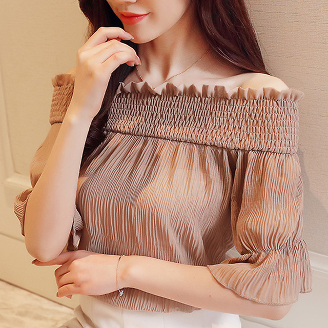 22b4f7ce6f80 Korean Elegant Off Shoulder Blouse Women Sex Chiffon Shirt 2018 Fashion  Flare Short Sleeve Chiffon Blouse