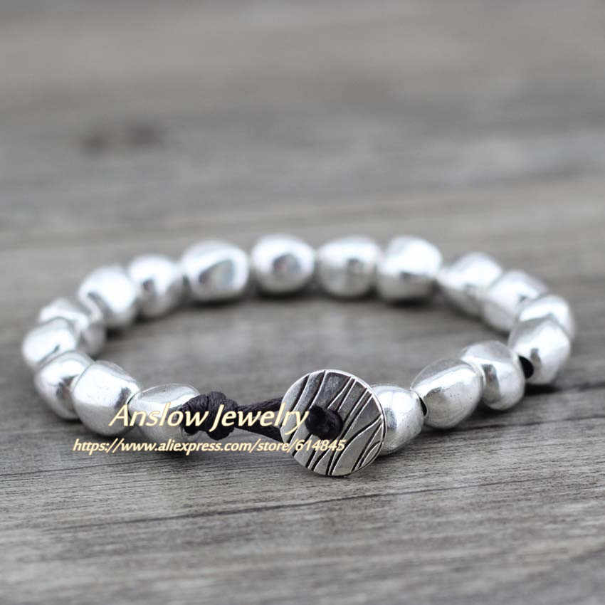Anslow Sale New Design Handmade DIY Zinc Alloy Beads Unique Silver Plated Friendship Wrap Bracelets Birthday Day Gift LOW0497LB