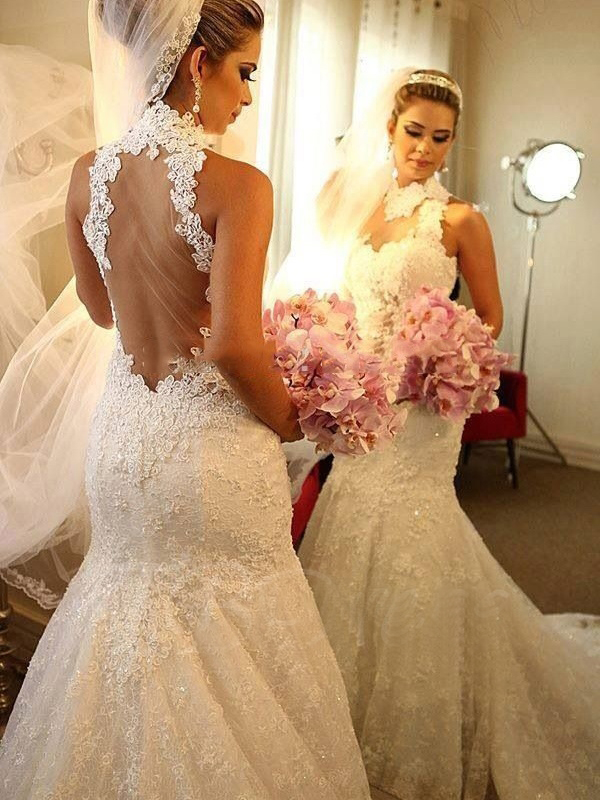 New Design Real imge Sexy Strapless High Neck Trumpet Mermaid wedding dress 2017 White Ivory Tulle Floor length wedding gowns