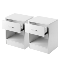 2pcs Density Board Night Stands with Drawer White Table Bedside Shelf Drawer Bedroom Furniture Storage for Living Room