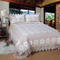 Luxury 100% Cotton Hand Crochet Quilts Bedspread 3Pieces Bed Coverlets Cover Set King Size Hand Made Bedspread 4 Season