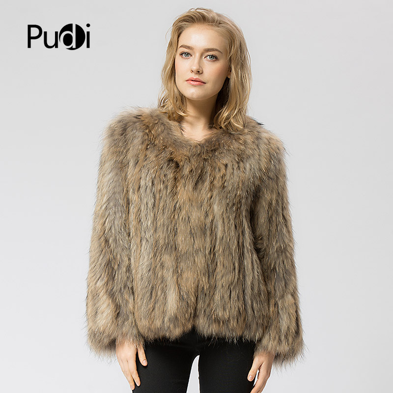 CR035 knit knitted Real raccoon fur coat jacket overcoat high quality women s fashion winter warm