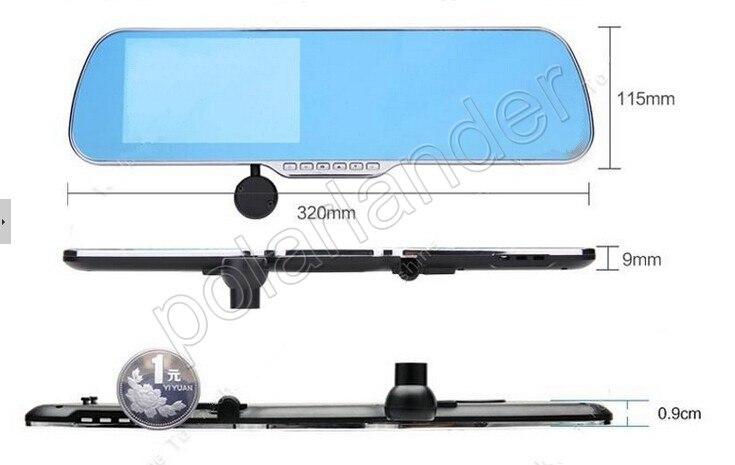 Dual lens 5 pollici Allwinner A10 per Android auto Specchietto retrovisore DVR GPS anteriore 140 gradi e posteriore 120 gradi angolo di visione - 5