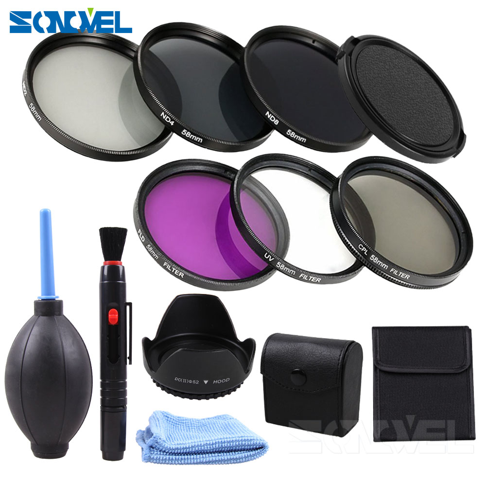 49 52 55 <font><b>58</b></font> 62 67 72 77 82 mm UV CPL FLD ND2 ND4 ND8 Neutral Density Filter Kit +<font><b>Lens</b></font> <font><b>hood</b></font>+Cleaning kit For Canon Sony Nikon image