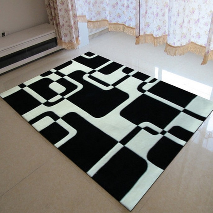 Classique Noir et blanc tapis Manuel Acrylique salon chambre tapis ...