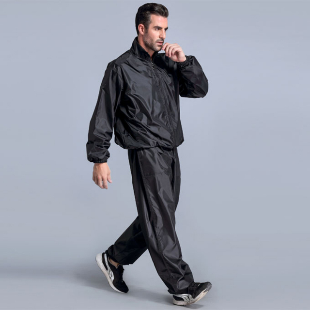Black Sweating Suits For Workouts Sauna Suit Men Pvc Sweat Weight Loss Fitness Running Jogging Boxing Training