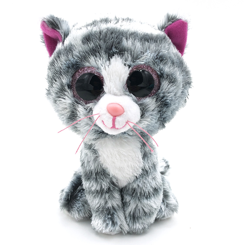 Hot 15cm Stuffed Doll Ty Beanie Boos Animal Silver Gradient Cat Soft beanie boo Lovely Plush Toy Stuff Ty Toys For Girl Children мягкая игрушка ty beanie boo s котенок sophie 15 см