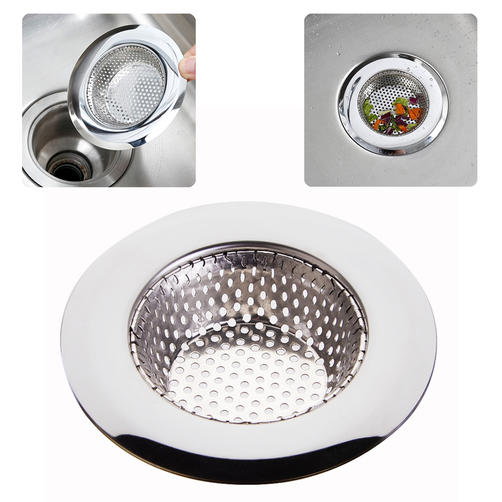1PC Household Stainless Steel Kitchen Sink Strainer Drain Metal Sink Strainer Bath Sink Drain Waste Screen Kitchen Tool