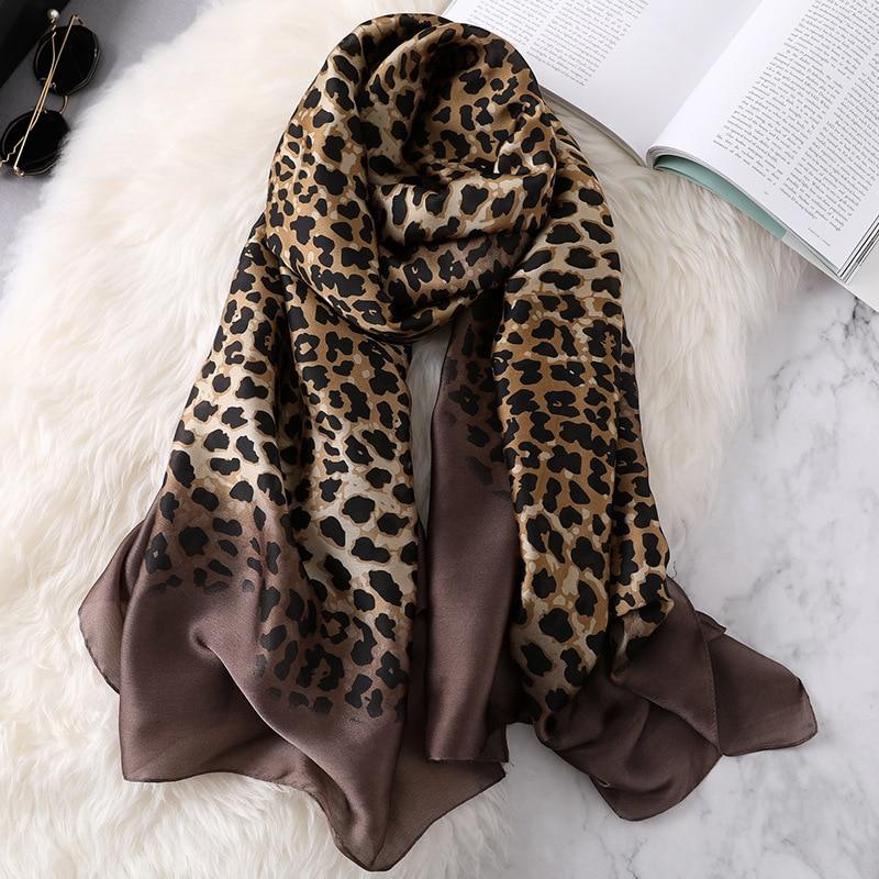 2020 luxus Frauen Ombre Leopard Dot Natürliche Seide Schal der Dame Mode Print Tücher und Wraps Pashmina Foulards Bandana Hijab Snood