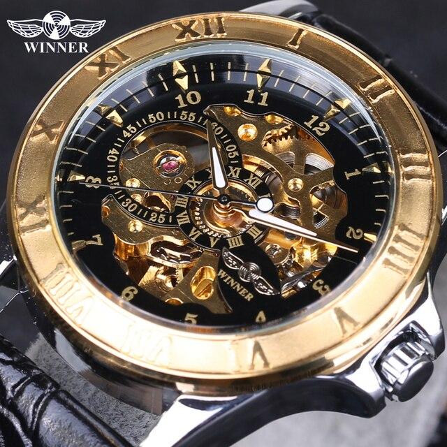 winner menu0027s watch automatic self wind watch skeleton watch men black gold hollow engraving elegant leather
