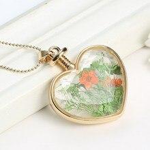 5 pcs Transparent Heart Necklaces Pendant Statement Gold Chain Necklace Dried flower 2015 Heart Locket Necklaces For Women