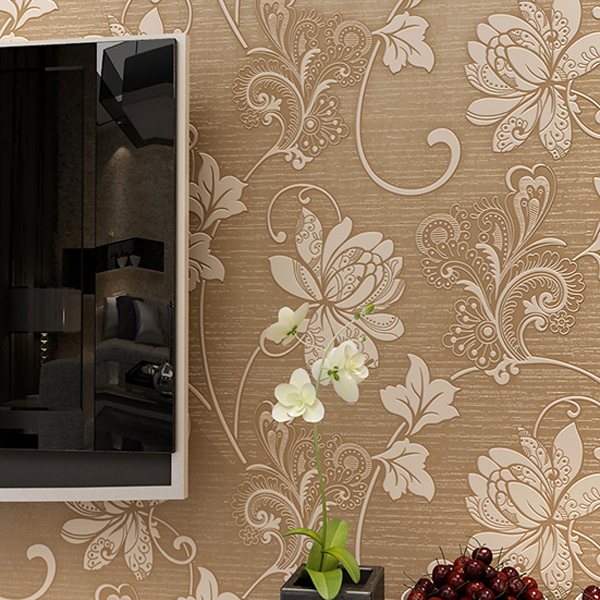 Modern wallpaper style 3d waterproof bedroom living room backdrop 3d wall decor wallpaper 3d relief flocking