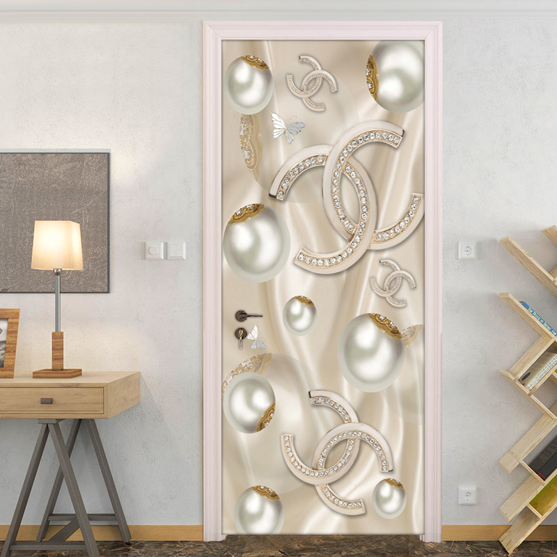 Home Wall Decoration Creative DIY PVC Self-adhesive Door Sticker 3D Circle Ball Jewelry Diamond Door Mural Wallpaper For Bedroom