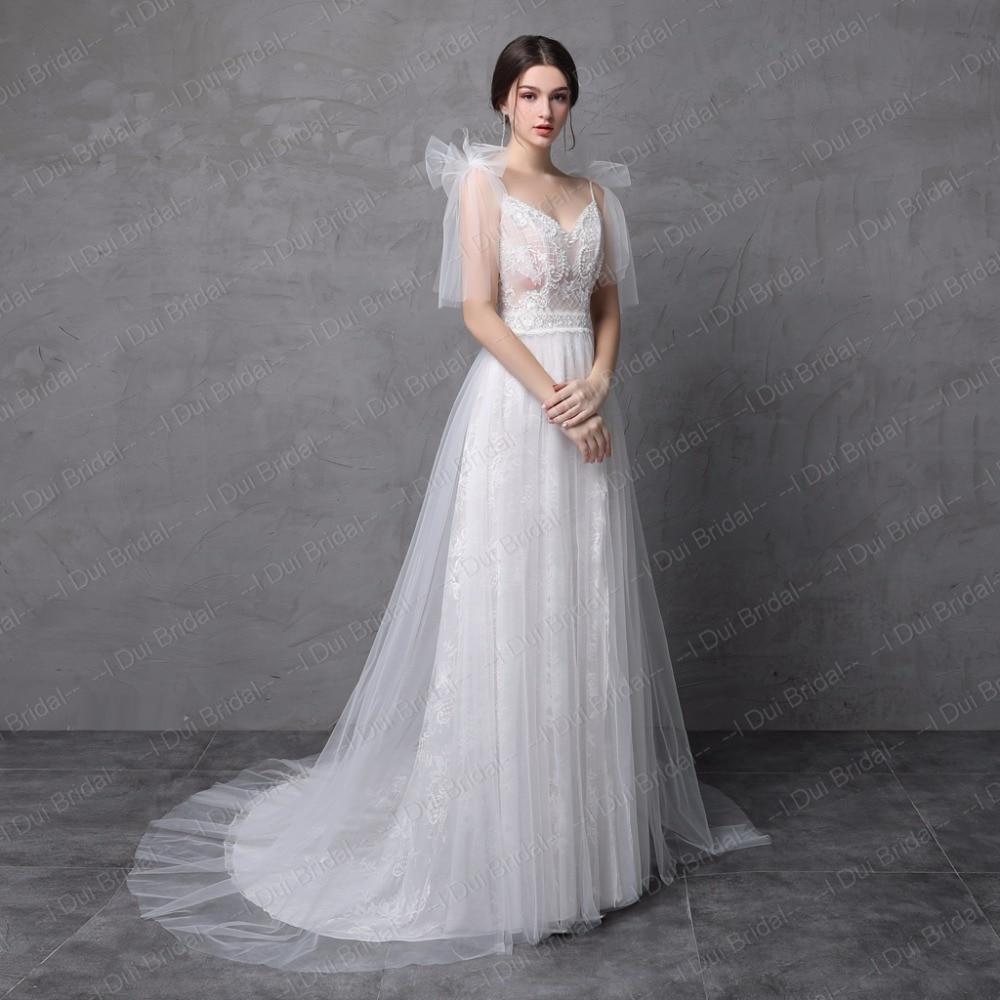 Nytt Stil Verkligt Foto Bröllopsklänning Spaghetti Bow Tie Strap En - Bröllopsklänningar - Foto 3