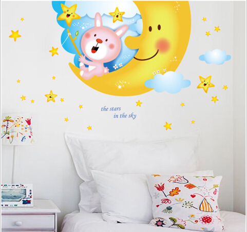 Big moon design of children room wall stickers on the wall stick mobile household wall stick on the wall ...