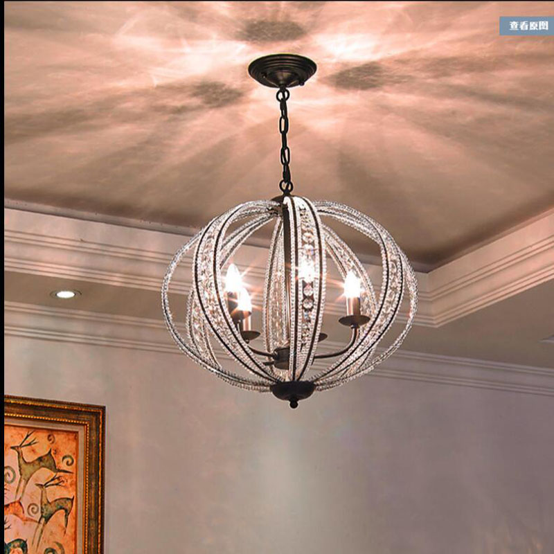 L Restaurant Chandelier Post Modern Minimalist Bedroom Creative Ball Living Room Table Lamp American Crystal Lamps Led Ceiling Lights & Fans Ceiling Lights