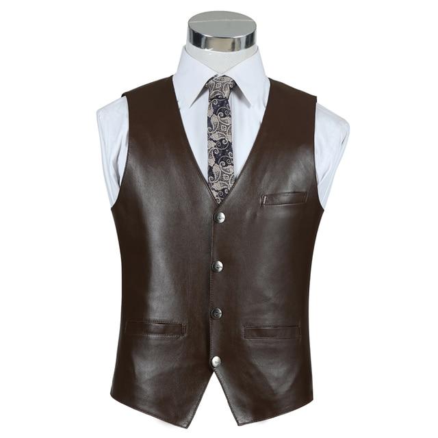 Men Leather Vest Sheepskin Genuine Leather Black Formal Business Style Luxury Vest Waistcoat Men's Outerwear