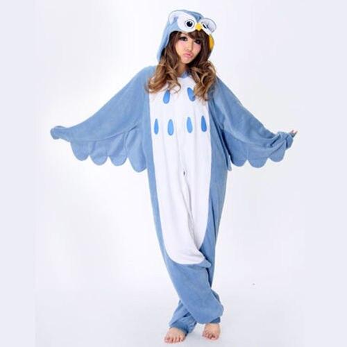 Free shipping New Adult Monsters Owl Costume Onesie Pyjamas Cosplay human skeleton animal sleepwear for Unisex