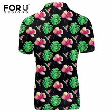 FORUDESIGNS Men's Brand Modern Polo Shirt, Fashion max Breathable Floral Fabric Polo For Men, Male Summer Vogue Polo Shirts