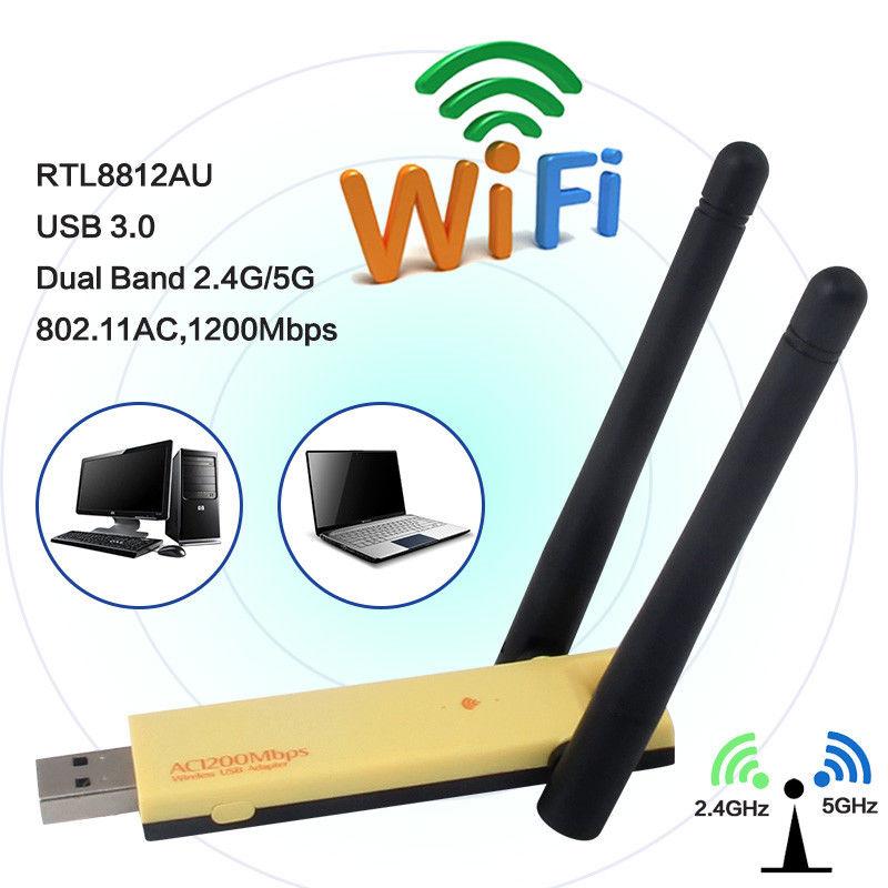 Realtek RTL8812AU Dual Band 1200Mbps Wireless USB WiFi Network Adapter Antenna