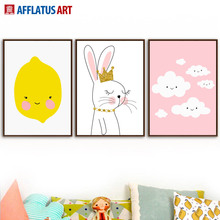 Rabbit Cloud Lemon Nordic Poster Wall Art Print Canvas Painting Cartoon Pictures For Kids Room Baby Pop Decor
